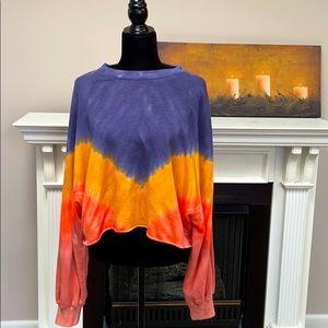 PINK Cropped Oversized Sweatshirt Tie Dye Large
